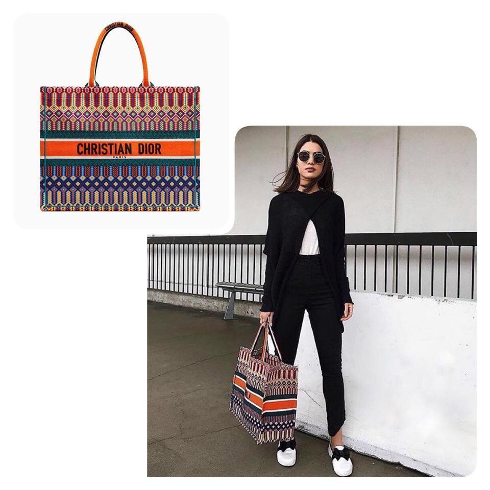 PO.5-7hari. Christian Dior bag. Size 40x13x30cm. (LIMITED STOCK). Christian Dior seri Book Tote Multi Embroidered bag. 4 Warna.
