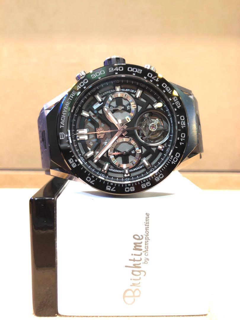"Pre Owned Tag Heuer Carrera Heuer 02T Tourbillon CAR5A8Y ""Luxury Set"" Skeleton Dial Automatic Titanium Casing Rubber"