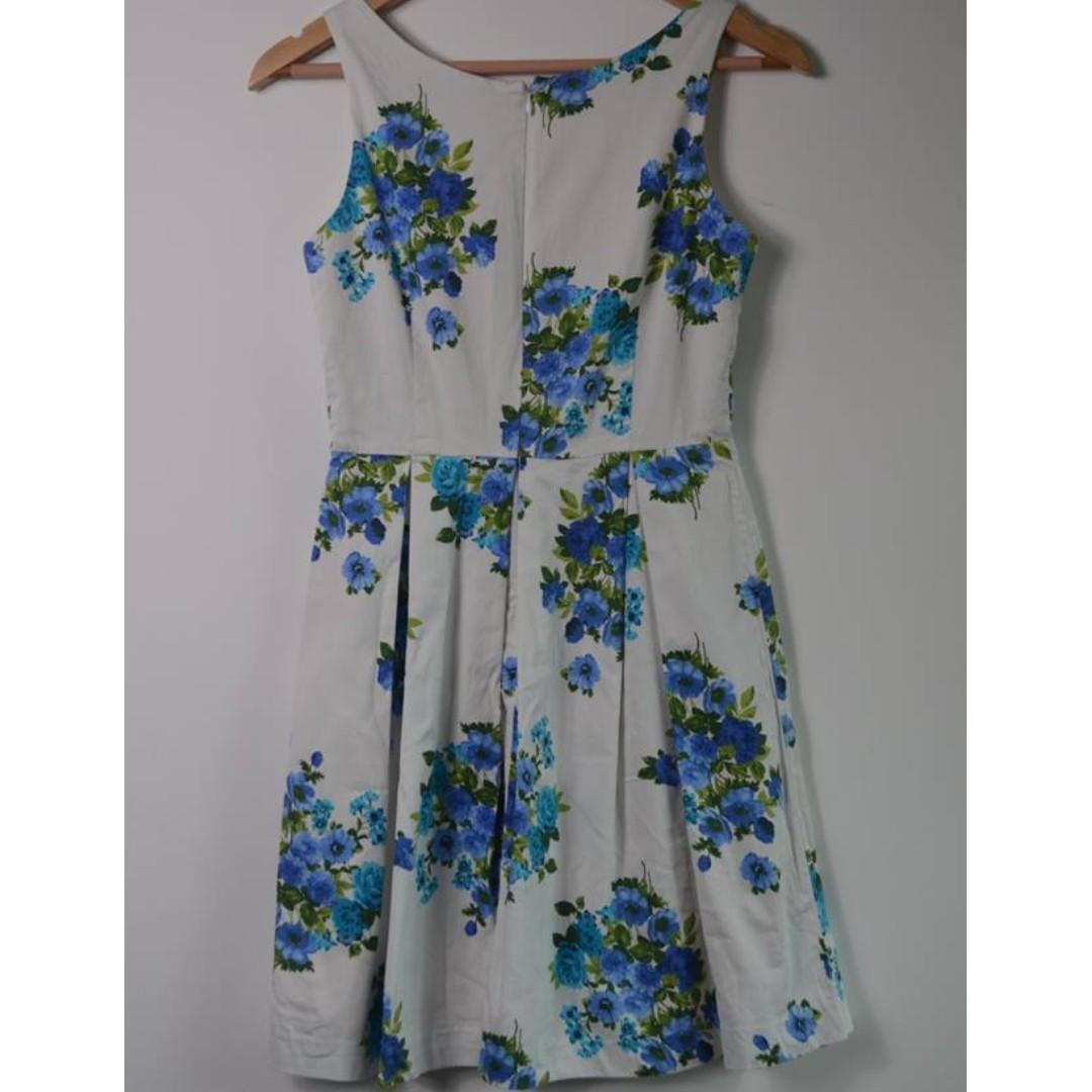 Princess Highway white + blue floral dress - size 8