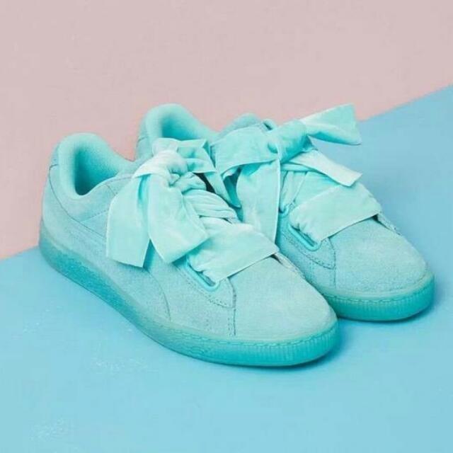 the latest 5d1fc 73d8c Puma Suede Heart Reset Mint Green Blue Sneakers Shoe