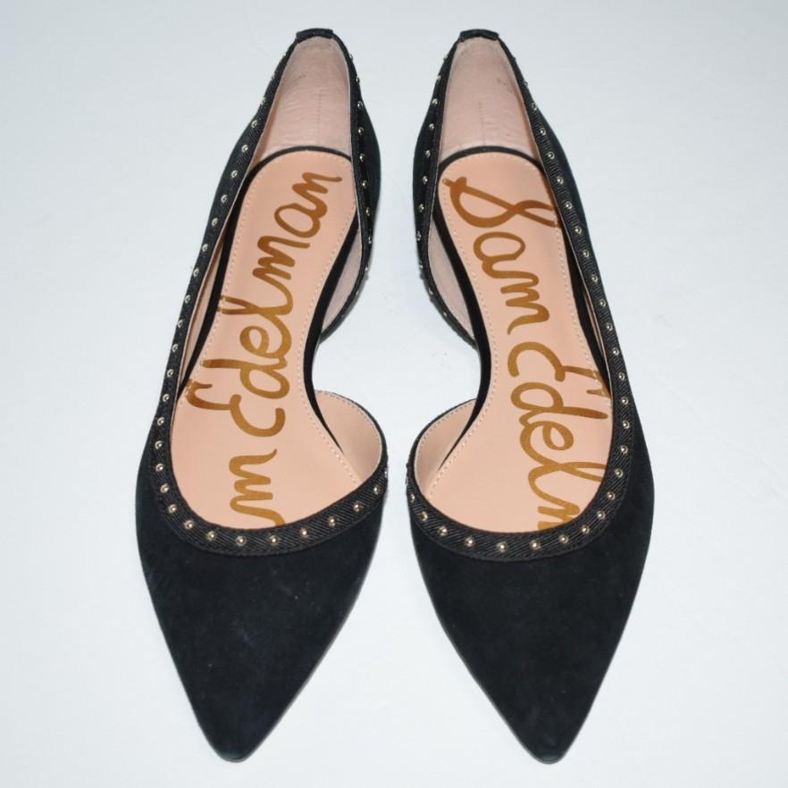 Sam Edelman Roni Studded Half d'Orsay Flat Black Suede Size 5