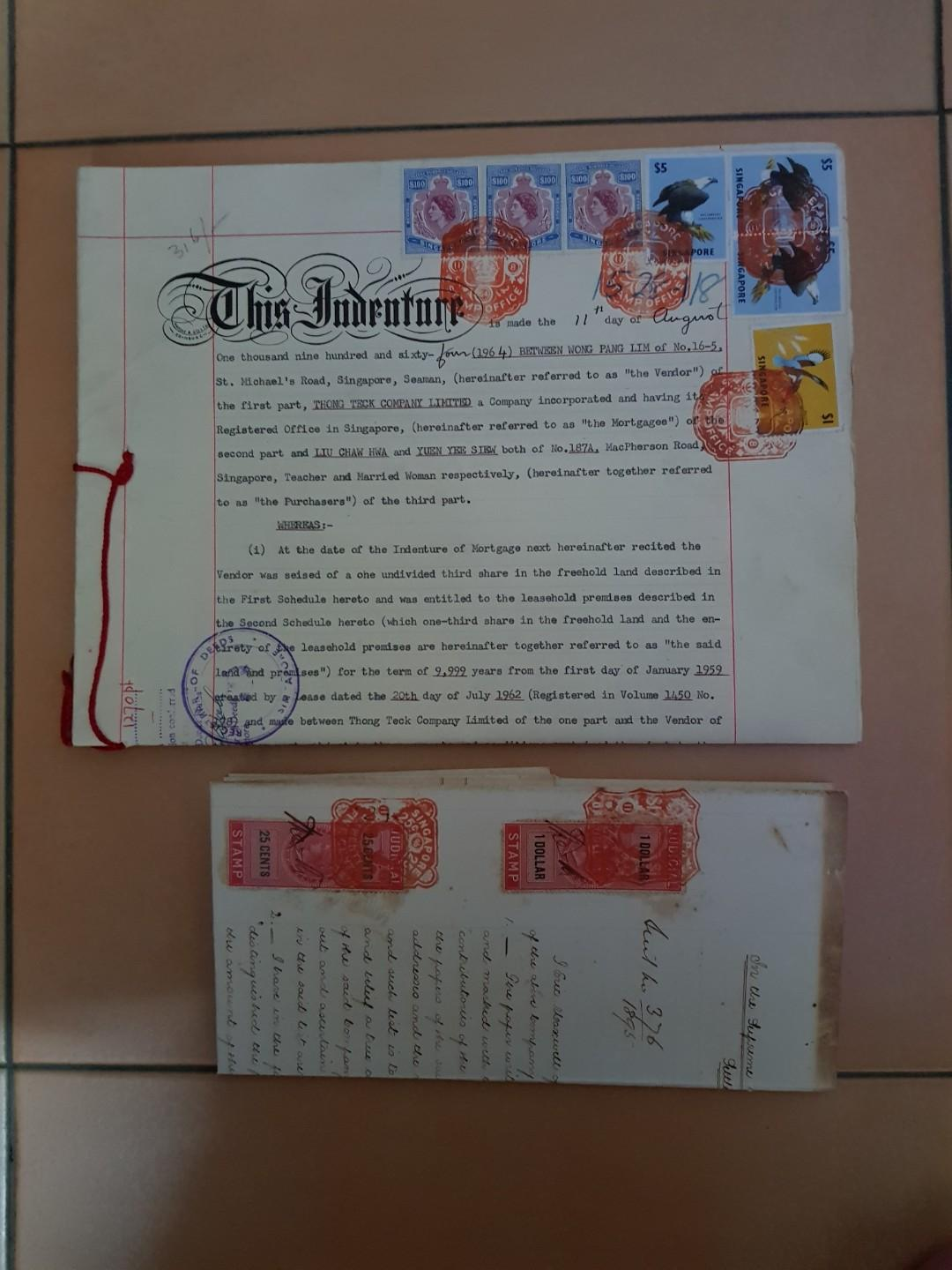 Stamps documents 1895 and 1964
