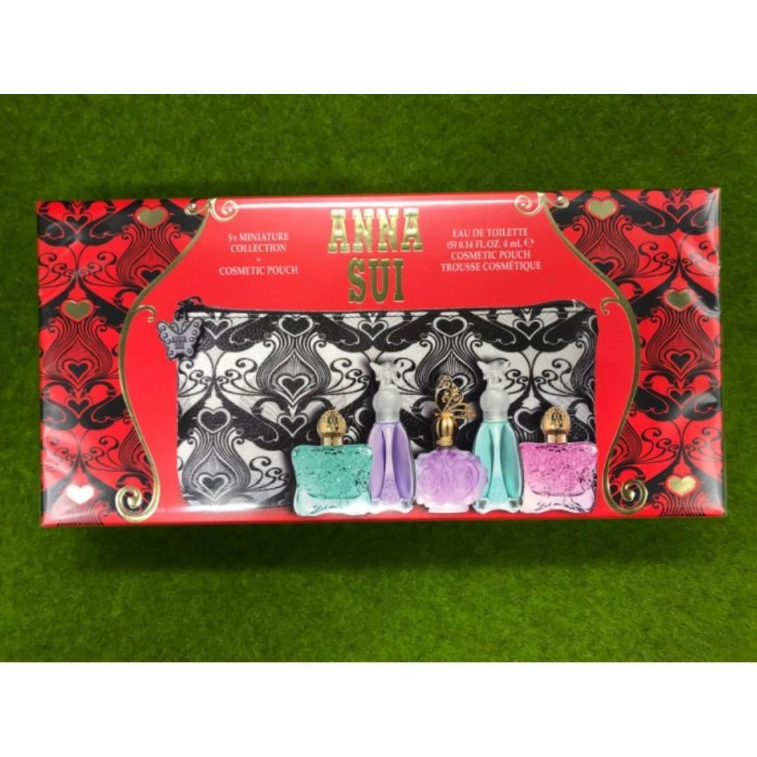 【黑皮TIME】ANNA SUI安娜蘇-典藏奢寵迷你小香禮盒4ml*5+化妝包 (專櫃正品)
