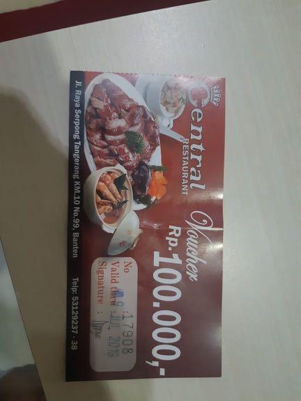 Voucher Rp 100.000 Central Restaurant Serpong, Tickets & Vouchers, Gift Cards & Vouchers on Carousell