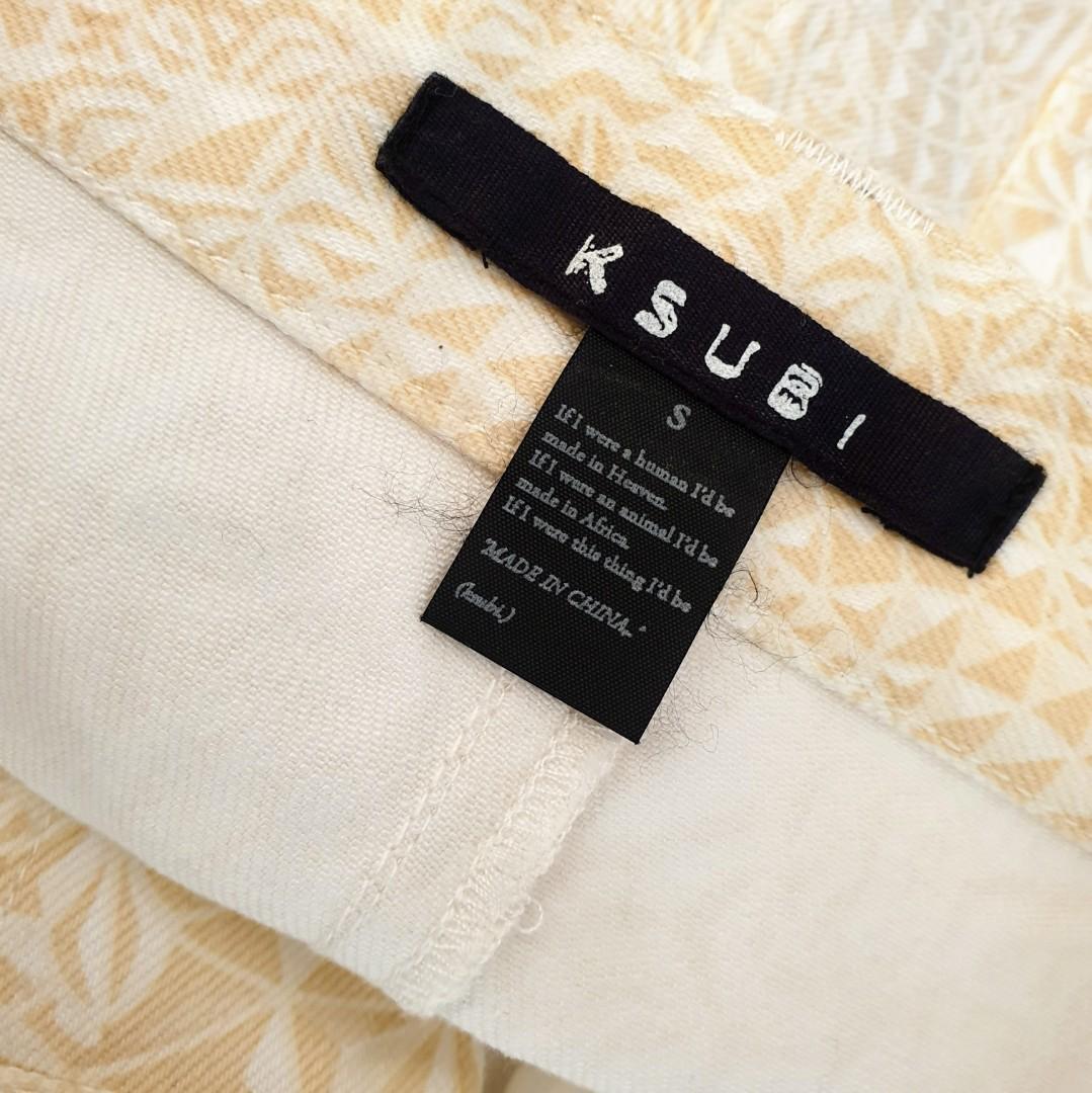 Women's size S 'KSUBI' Gorgeous beige graphic print shorts - AS NEW