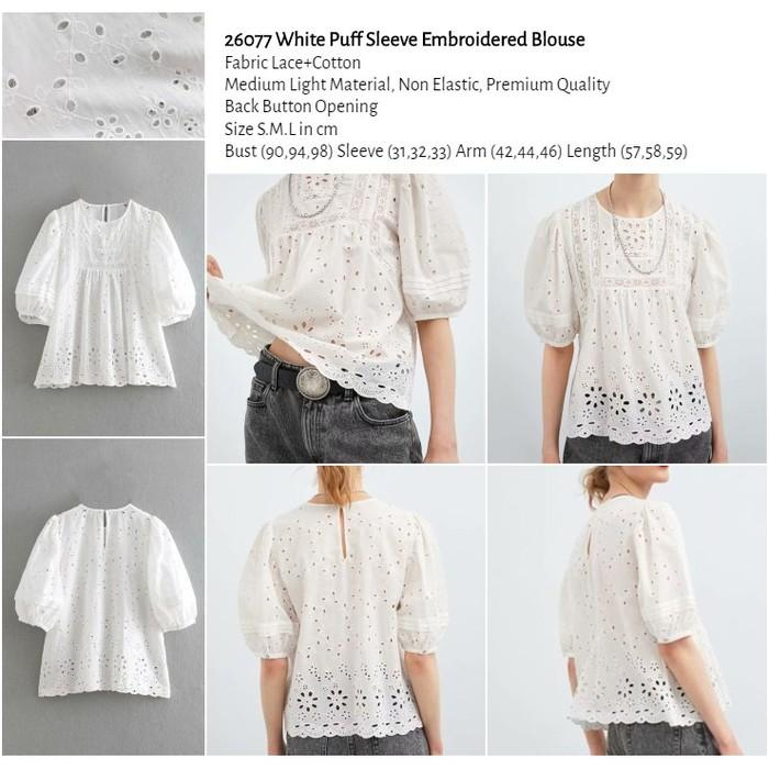 WST 26077 White Puff Sleeve Embroidered Blouse