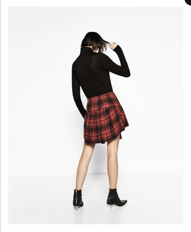 Zara Plaid Shirt Skirt