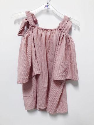 🚚 乾燥玫瑰色綁帶上衣-全新