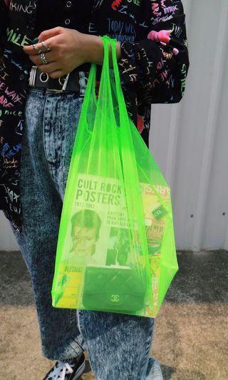 🚚 螢光綠透光網紗提袋