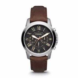 🎆SUPER OFFER🎆Fossil Grant Chronograph Brown Leather Watch