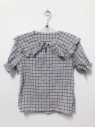🚚 棉麻格紋襯衫-全新
