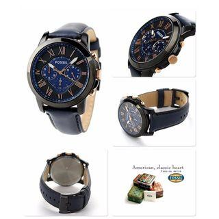 🎆SUPER OFFER 🎆Fossil Grant Chronograph Blue Leather Watch