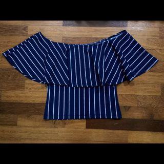 (AUS) Navy striped off-shoulder