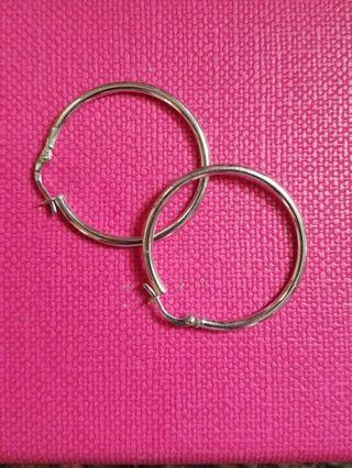 14K585 White Gold 30mm Loop Earrings 14K585 白金耳圈耳環 Italy Made