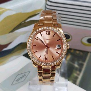 🎆 SUPER OFFER 🎆Fossil ES4318 Scarlette Crystal Rose Dial Ladies Watch