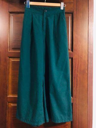 🚚 綠色A字棉質高腰寬褲