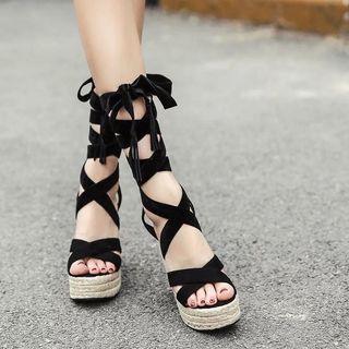 Candy w❤️實拍❤️ 波希米亞性感絨面綁帶厚底楔形鞋