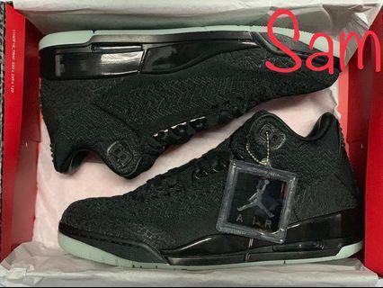 Air Jordan AJ 3 Retro Flyknit Black US9.5