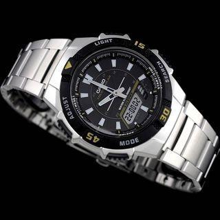 Casio AQ-S800WD-1EV Tough Solar Analogue-Digital Aviator Watch - No battery replacement needed! (AQS800 AQ-S800 AQS-800W)