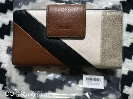Fossil Wallet Emma Tab Clutch RFID Wallet Neutral Stripe