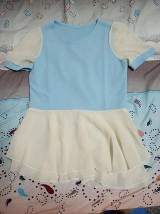 藍白色長版衣