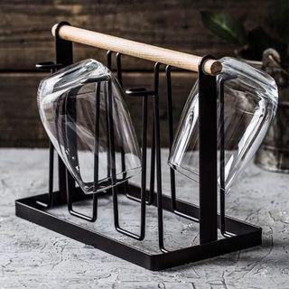 🚚 日式木柄手提多功能瀝水杯架(黑色)