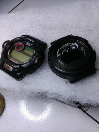 Jual borong dua buah jam tangan Casio G-Shock kondisi mati apa adanya