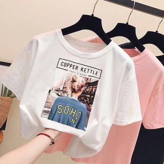 🚚 現貨韓版白色短袖t恤2019百搭寬鬆短袖T恤男友風打底衫上衣
