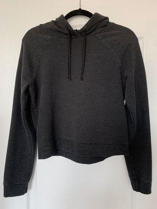 Aritzia Cropped Hoodie Sweater Dark Grey/Black