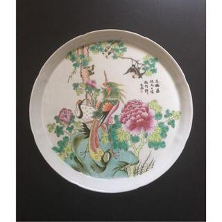 Fine hand-painted Famille Rose porcelain plate - China - second half 20th Century. 八十年代手绘粉彩茶盘