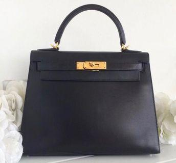 Hermes Kelly 28 black box boxcalf excellent condition full set no receipt