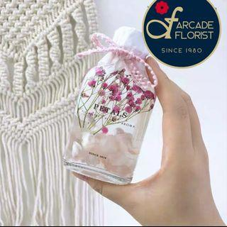 Herbarium Bottle(100ml) with beautiful Preserved and Dried flowers + LED Base and Gift Box | Rose | Roses | BrithDay Bouquet