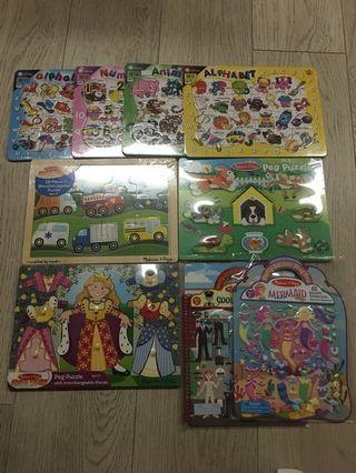Puzzles and Stickers - Melissa and Doug and others
