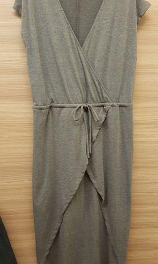 Midi dress with wrap feature, Dark Grey