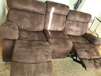 Suede chocolate brown sofa recline couch