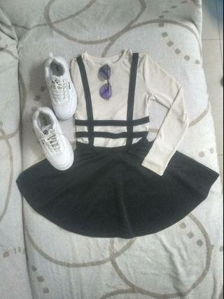 Skater skirt with suspender-preloved