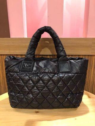 Chanel 香奈兒 黑色 空氣包菱格紋肩背手提包