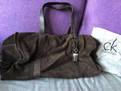 Calvin Klein suede traveling bag
