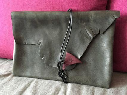 Handmade leather clutch bag (black with purple)