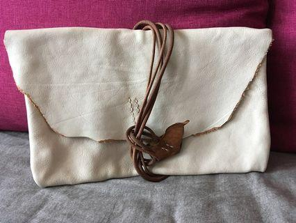 Handmade leather clutch bag (white with brown)