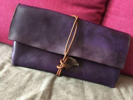 Handmade leather clutch bag (purple with grey)