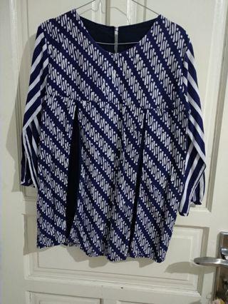 Batik kombinasi navy