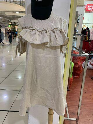 Linen Cold Shoulder Dress