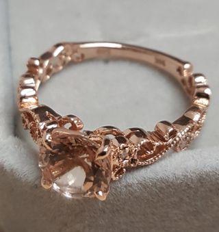 🚚 1.25ct Morganite & Genuine Diamonds Ring (Authentic)
