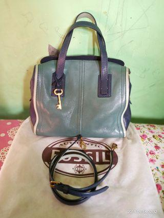 Fossil emma satchel multi blue authentic