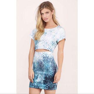 Watercolor dress with cutout