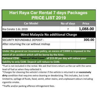 Hari Raya Car Rental 7 days, EARLY BIRD PRICE LIST 2019 @ Hillview