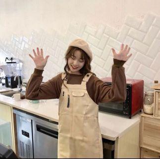 韓妞💜奶茶色 卡其吊帶裙