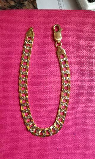 18K750 Yellow Gold Bracelet 7.5mm ❤ITALYMade❤18K75O黃金金手鍊
