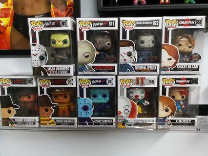 Funko Pops - whole lot Chucky, Jason Voorhees and 8bits, Freddy Krueger, Pennywise, Michael Myers exclusives, 8 bit